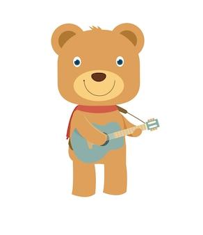 Glücklicher netter brauner teddybär, der gitarre spielt