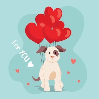 Glücklicher netter hund des valentinstags mit ballon