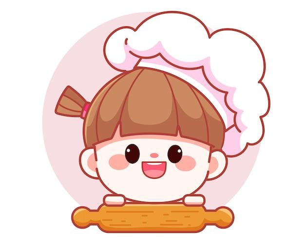 Glücklicher netter mädchenkoch, der hölzerne nudelholzfahnenfahnenlogokarikaturkunstillustration der küche hält