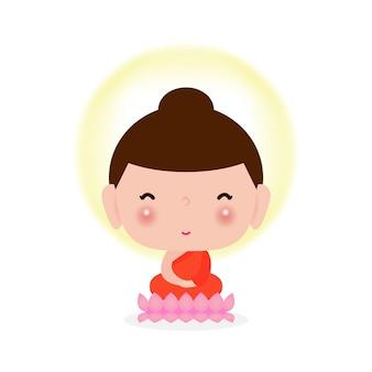 Glücklicher niedlicher buddha, der auf lotusblume sitzt