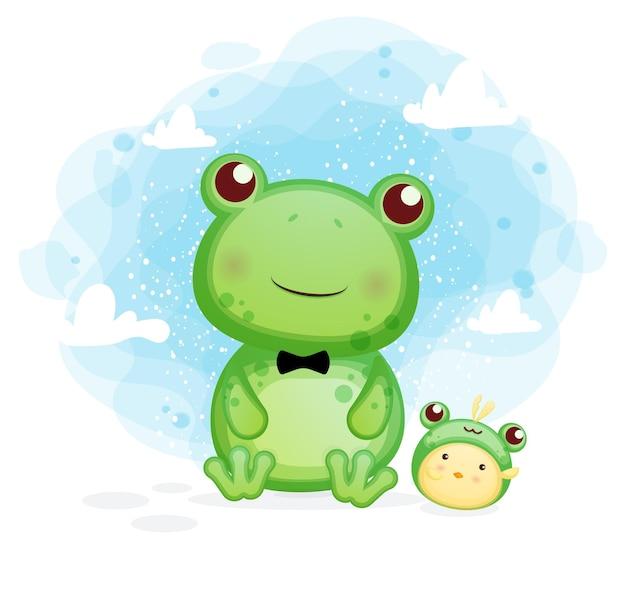 Glücklicher niedlicher frosch mit küken, die spaßkarikaturillustration haben