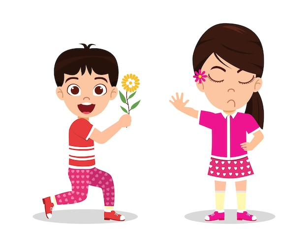 Glücklicher niedlicher kinderjungencharakter, der kindermädchencharakter blume gibt