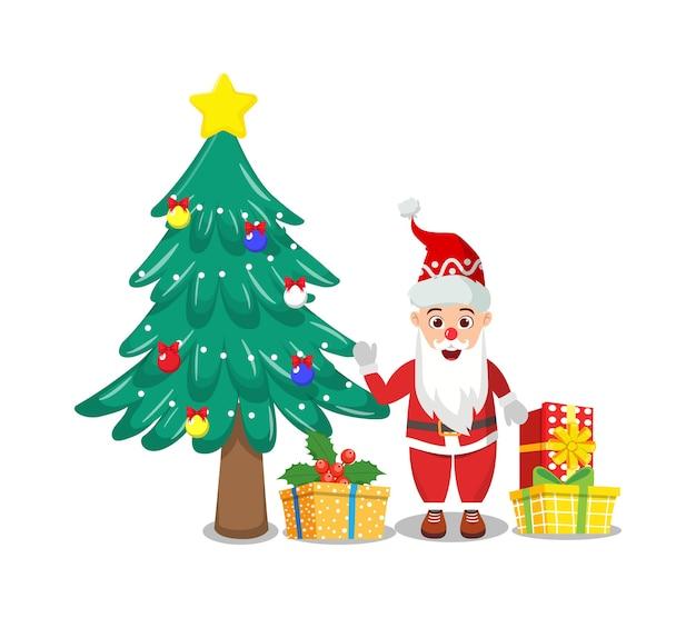Glücklicher niedlicher weihnachtsmann, der fröhliche charismas mit geschenkboxen und charismas-baum winkt und feiert