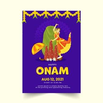 Glücklicher onam-feier-flyer mit klassischer tänzerin und festivalelementen in der violetten farbe.