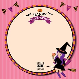 Glücklicher orange hintergrund halloween mit hexe