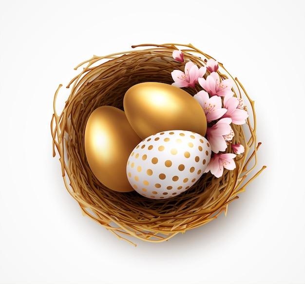 Glücklicher ostergrußhintergrund mit realistischen ostereiern im nest und in den frühlingsblumen. vektorillustration eps10