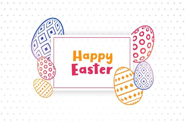 Glücklicher osterhintergrund mit dekorativen eiern