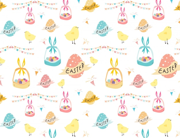 Glücklicher ostern-musterhintergrund, nettes ostern-muster für kinder, vetor-illustration.