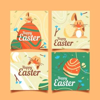 Glücklicher ostern-tag-instagram beitrag mit lustigem kaninchen