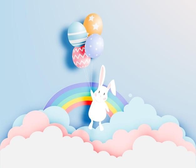 Glücklicher ostertag im papierkunststil mit hase und eiern