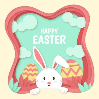 Glücklicher ostertag im papierstil mit hase und gemalten eiern