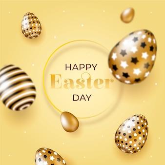 Glücklicher ostertag mit goldenen eiern im flachen design