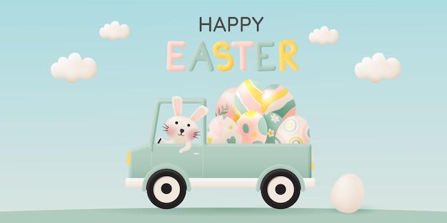 Glücklicher ostertag mit niedlichem kaninchen, das ein auto fährt