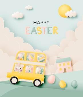 Glücklicher ostertag mit niedlichem kaninchen, das einen bus fährt