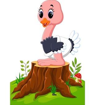 Glücklicher ostrich der karikatur, der auf baumstumpf sitzt