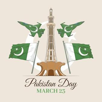 Glücklicher pakistanischer tag hand gezeichnet und wahrzeichen