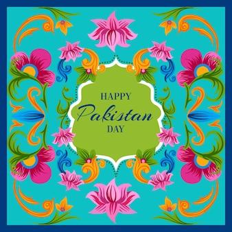 Glücklicher pakistanischer tag hand gezeichnet