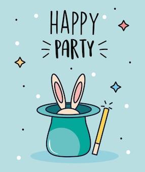 Glücklicher partyentwurf mit magischem hut mit kaninchen und zauberstab über blauem hintergrund