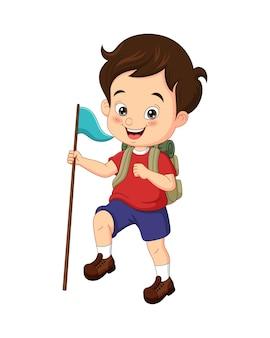 Glücklicher pfadfinder der karikatur, der eine flagge hält