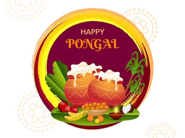 Glücklicher pongal-feier-hintergrund mit traditionellem gericht in schlammtöpfen Premium Vektoren
