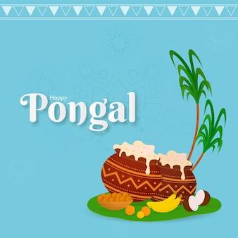 Glücklicher pongal-text mit pongali-reis in schlammtöpfen