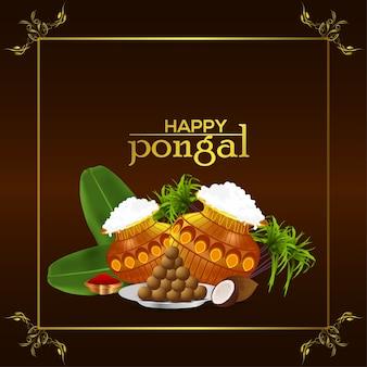 Glücklicher pongaler grußkartenfeier indischer festivalhintergrund Premium Vektoren