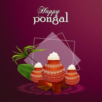 Glücklicher pongaler grußkartenfeier indischer festivalhintergrund