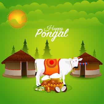 Glücklicher pongaler südindischer festivalhintergrund
