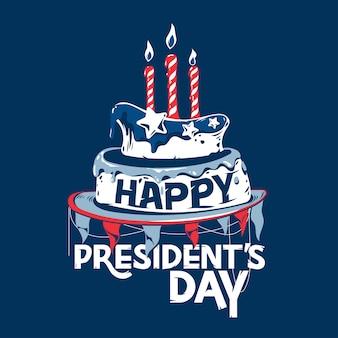 Glücklicher präsidententag mit geburtstags-kuchen-illustration und handschrift