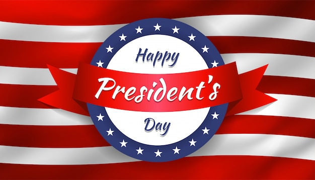 Glücklicher präsidententag mit kreisform und band mit realistischer flagge