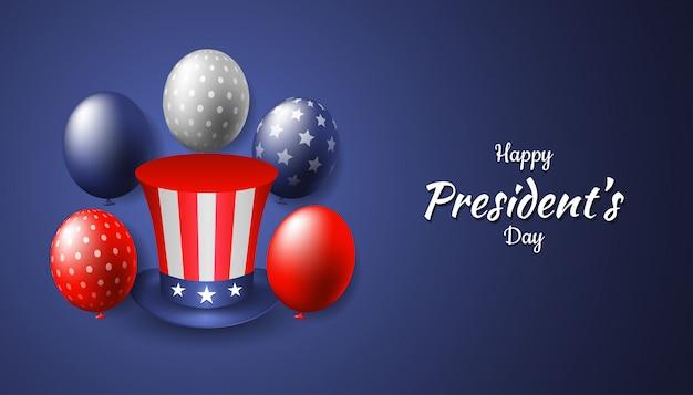 Glücklicher präsidententag mit realistischem onkel sam hut und ballon