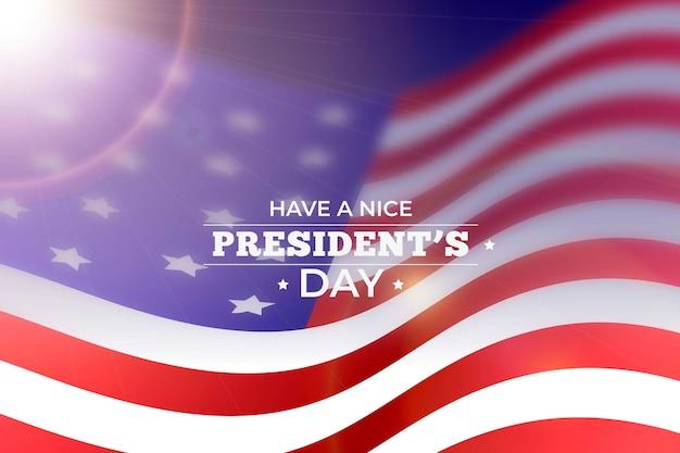 Glücklicher präsidententag mit realistischer flagge und unschärfe