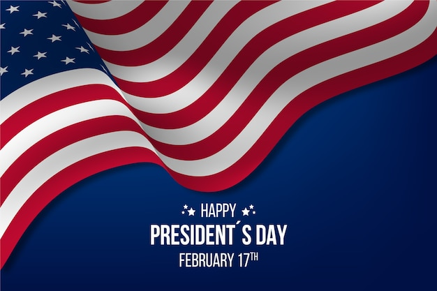 Glücklicher präsidententag mit realistischer flagge