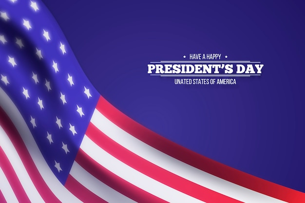 Glücklicher präsidententag mit realistischer unscharfer flagge