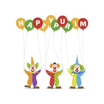 Glücklicher purim tag mit clowns