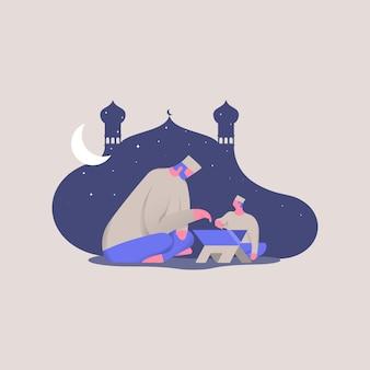 Glücklicher ramadan kareem. vater und sohn lasen heilige quran-konzeptillustration