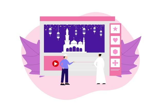 Glücklicher ramadhan-mubarak-gruß mit charakterleuten