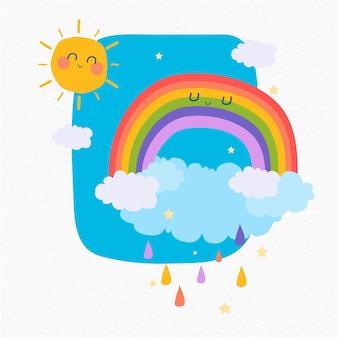 Glücklicher regenbogen und sonne am himmel