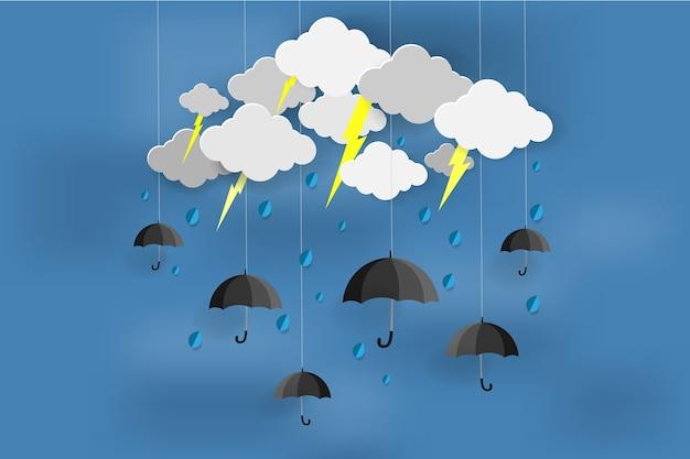 Glücklicher regnerischer tag mit monsunzeit.