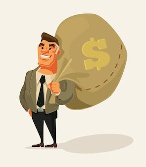 Glücklicher reicher geschäftsmanncharakter halten große geldtasche flache karikaturillustration