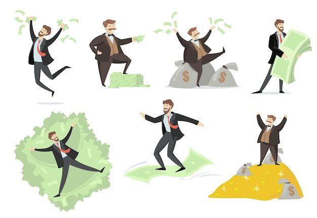 Glücklicher reicher mann, der mit seinem geld flaches set spielt. karikaturillustration