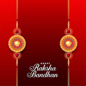 Glücklicher roter hintergrund raksha bandhan mit zwei rakhi