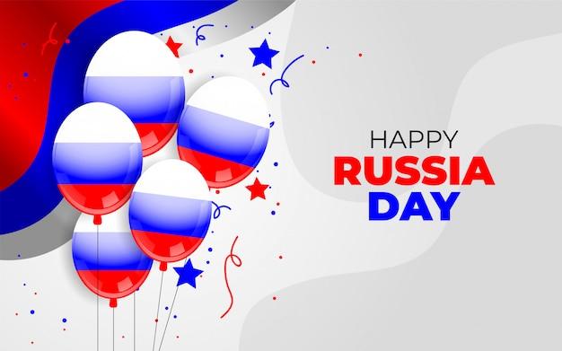 Glücklicher russland tag mit ballon und flagge dekoration