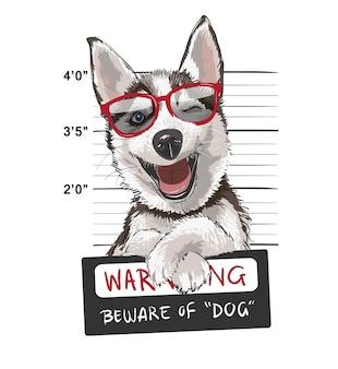 Glücklicher schlittenhund mit zeichenillustration