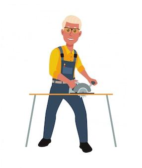 Glücklicher schreiner, der mit kreissäge arbeitet. illustration in einem flachen stil.