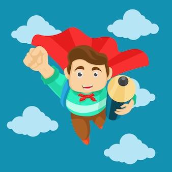 Glücklicher schüler oder student der zeichentrickfigur, aufgeregtes gesicht bringen bleistift in den himmel fliegen