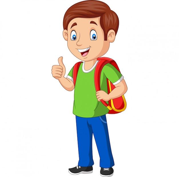 Glücklicher schuljunge der karikatur mit dem rucksack, der einen daumen aufgibt