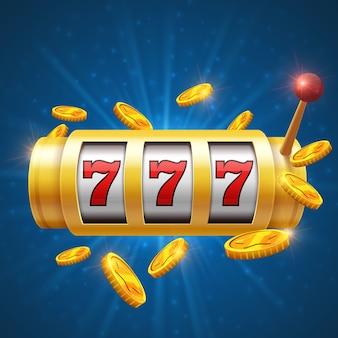 Glücklicher spielender vektorhintergrund des spielers mit spielautomat. casino jackpot-konzept