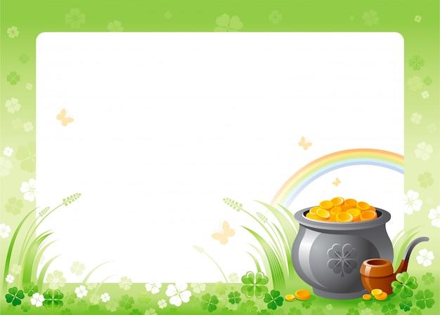 Glücklicher st. patrick's day mit grünem kleeblattkleerahmen, regenbogen und goldschatz