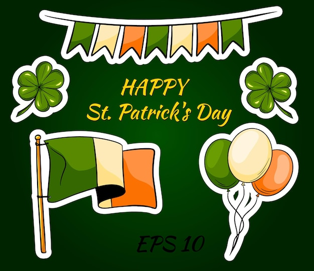 Glücklicher st. patrick's day mit irischen ikonen und aufklebern.